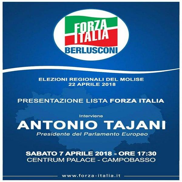 Campobasso – Elezioni regionali 2018, sabato 7 aprile presentazione lista Forza Italia