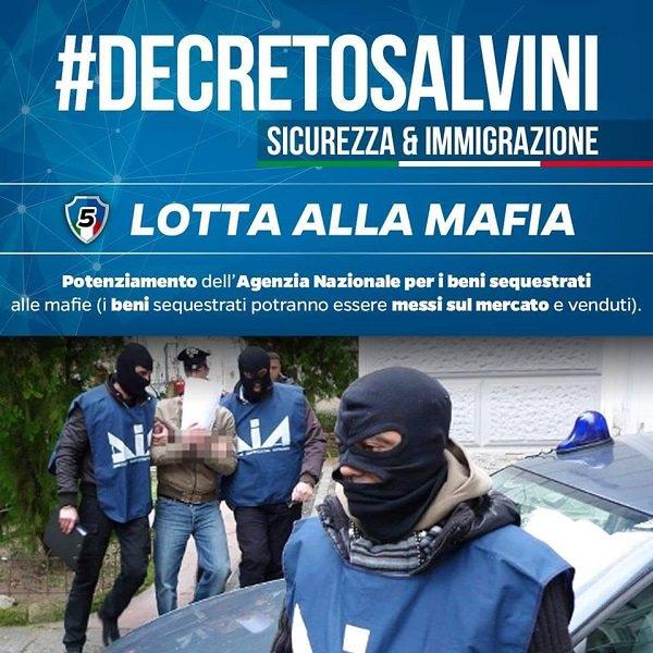 CONDIVIDO CON CONVINZIONE! #DECRETOSALVINI / 5: LOTTA ALLA MAFIA